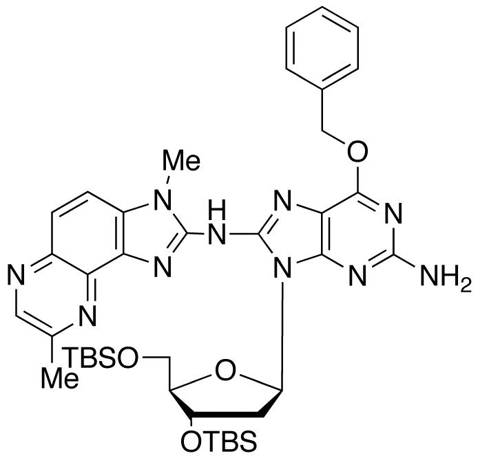 3',5'-Di-O-tert-butyldimethylsilyl-2'-deoxy-8-[(3-methyl-8-methyl-3H-imidazo[4,5-f]quinoxalin-2-yl)amino]-6-O-benzyl-guanosine