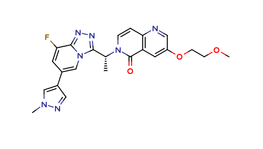 6-[(1R)-1-[8-fluoro-6-(1-methyl-1H-pyrazol-4-yl)-1,2,4-triazolo[4,3-a]pyridin-3-yl]ethyl]-3-(2-methoxyethoxy)-1,6-Naphthyridin-5(6H)-one