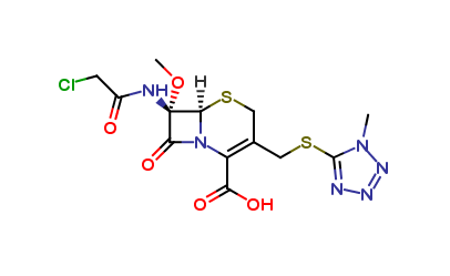 (6R,7S)-7-(2-chloroacetamido)-7-methoxy-3-(((1-methyl-1H-tetrazol-5-yl)thio)methyl)-8-oxo-5-thia-1-azabicyclo[4.2.0]oct-2-ene-2-carboxylic acid